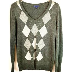 Gap V Neck Long Sleeve Gray Sweater